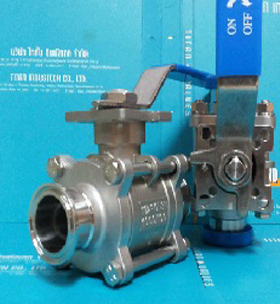 3-PCS SANITARY C-CLAMP END BALL VALVE ( ISO 5211 )